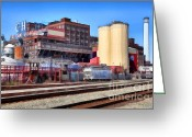 Factories Greeting Cards - The Old C and H Pure Cane Sugar Plant in Crockett California . 5D16770 Greeting Card by Wingsdomain Art and Photography