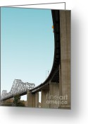 Highways Greeting Cards - The Old Carquinez Bridge . 7D8832 Greeting Card by Wingsdomain Art and Photography