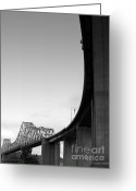 Bay Area Greeting Cards - The Old Carquinez Bridge . Black and White . 7D8832 Greeting Card by Wingsdomain Art and Photography