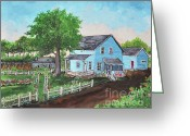Old Farms Greeting Cards - The Old Farmhouse Greeting Card by Reb Frost
