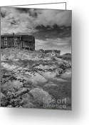 Shed Greeting Cards - The Old Fishermans Hut bw Greeting Card by Heiko Koehrer-Wagner