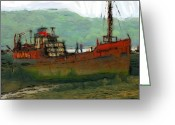 Sea Life Pastels Greeting Cards - The old fishing trawler Greeting Card by Stefan Kuhn