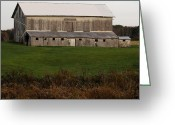 Amish Farms Greeting Cards - The Old Gray Barn Greeting Card by Lydia Warner Miller