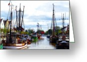Old Town Painting Greeting Cards - The old Harbor Greeting Card by Stefan Kuhn