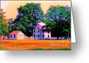 Old Out Houses Greeting Cards - The Old Homestead Impressionism Greeting Card by Annie Zeno