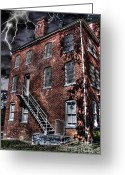 Asphalt Digital Art Greeting Cards - The Old Jail Greeting Card by Dan Stone