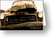 Old Trucks  Greeting Cards - The Old Jalopy . 7D8396 Greeting Card by Wingsdomain Art and Photography