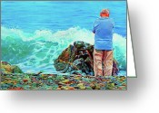 Atlantic Ocean Drawings Greeting Cards - The Old Man and the Sea Greeting Card by Kelly McNeil