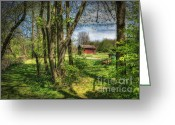 Ohio Country Greeting Cards - The Old River Shed Greeting Card by Pamela Baker