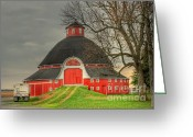 Round Barn Greeting Cards - The Old Round Barn of Ohio Greeting Card by Pamela Baker