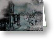 Foggy Digital Art Greeting Cards - The Old Ruins Greeting Card by Cheryl Young