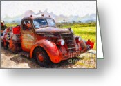 Old Trucks  Greeting Cards - The Old Rusty Jalopy . 7D15500 Greeting Card by Wingsdomain Art and Photography