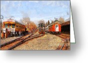 Tanker Train Greeting Cards - The Old Sacramento Central Train Depot . 7D11513 Greeting Card by Wingsdomain Art and Photography