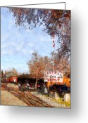 Tanker Train Greeting Cards - The Old Sacramento Central Train Depot . 7D11527 Greeting Card by Wingsdomain Art and Photography
