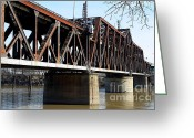 Tong River Greeting Cards - The Old Sacramento Southern Pacific Train Bridge . 7D11427 Greeting Card by Wingsdomain Art and Photography
