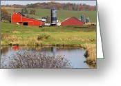 Amish Farms Greeting Cards - The Old Swimming Hole Greeting Card by Lydia Warner Miller