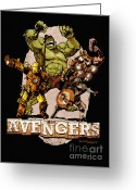 Captain America Greeting Cards - The Old Time-y Avengers Greeting Card by Brian Kesinger