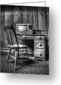 Vintage Chair Greeting Cards - the old TV Greeting Card by Scott Norris
