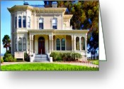 Vintage House Greeting Cards - The Old Victorian Camron-Stanford House in Oakland California . 7D13440 Greeting Card by Wingsdomain Art and Photography