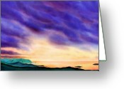Purple Clouds Greeting Cards - The Once and Future Kingdom Greeting Card by Kevin Smith