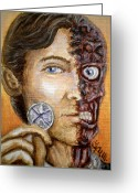Two Face Greeting Cards - The only morality in a cruel world is chance Greeting Card by Al  Molina