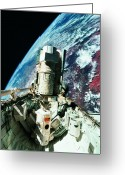 Space.planet Greeting Cards - The Open Cargo Bay Of The Space Shuttle Orbiting Above Earth Greeting Card by Stockbyte