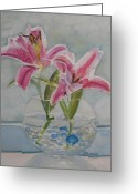 Stargazer Lilies Greeting Cards - The Opening Greeting Card by Jenny Armitage