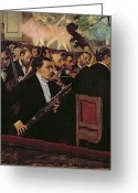 Players Greeting Cards - The Opera Orchestra Greeting Card by Edgar Degas