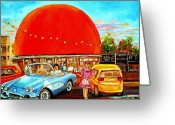Cities Art Painting Greeting Cards - The Orange Julep Montreal Greeting Card by Carole Spandau