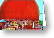 Delicatessans Greeting Cards - The Orange Julep Montreal Summer City Scene Greeting Card by Carole Spandau