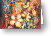 Signed Greeting Cards - The Orange Wind Greeting Card by Elena Kotliarker