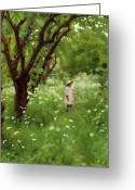 Little Girl Greeting Cards - The Orchard  Greeting Card by Thomas Cooper Gotch