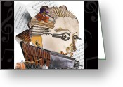 Violin Digital Art Greeting Cards - The Orchestra Greeting Card by Alessandro Della Pietra