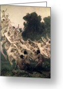 Nymphs Greeting Cards - The Oreads Greeting Card by William-Adolphe Bouguereau