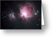 Galaxy Greeting Cards - The Orion And The Running Man Nebulae Greeting Card by Pat Gaines