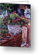 Flower Pots Greeting Cards - The Ornamental Floral Gate Greeting Card by David Lloyd Glover