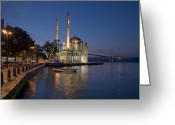 Turkey Greeting Cards - The Ortakoy Mosque and Bosphorus Bridge at dusk Greeting Card by Ayhan Altun