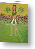 Cheerleader     Greeting Cards - The other teams Cheerleader Greeting Card by Gregory Davis