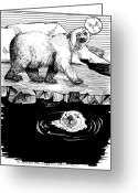 Beaches Drawings Greeting Cards - The Otter Loved the Bear Greeting Card by Laura Brightwood
