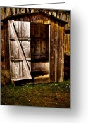 Vintage Outhouse Greeting Cards - The Outhouse at Fort Nisqually Greeting Card by David Patterson