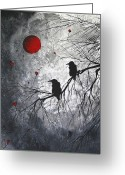 Black And White Greeting Cards - The Overseers by MADART Greeting Card by Megan Duncanson