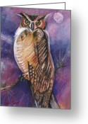 Owl Drawings Greeting Cards - The Owl And The Moon Greeting Card by John Keaton