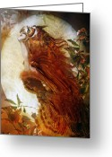 Orange Greeting Cards - The Owl Greeting Card by Karen Koski