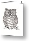 Drawing Of Bird Greeting Cards - The Owls Who Greeting Card by Paula Dickerhoff