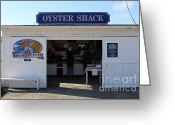 Oysters Greeting Cards - The Oyster Shack at Drakes Bay Oyster Company in Point Reyes California . 7D9835 Greeting Card by Wingsdomain Art and Photography
