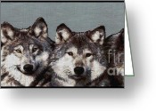 Wolves Mixed Media Greeting Cards - The Pack Greeting Card by J McCombie