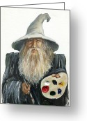 Sorcerer Greeting Cards - The Painting Wizard Greeting Card by J W Baker
