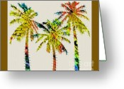 Palm Leaf Greeting Cards - The Palm Tree Greeting Card by Gwyn Newcombe