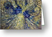 Surreal Tapestries Textiles Greeting Cards - The Pandorica Opens Greeting Card by Alizey Khan