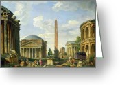 Great Painting Greeting Cards - The Pantheon and other Monuments 1735 Greeting Card by Giovani Paolo Panini